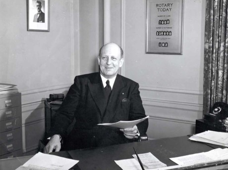Philip Lovejoy, 1942-52 RI general secretary, in his office. 1950.