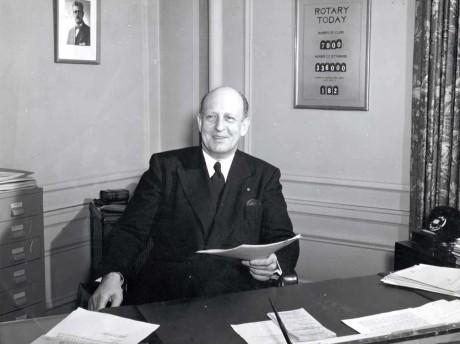Philip Lovejoy, 1942-52 RI general secretary, in his office. 1950.