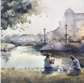 © Artist: Yasaman Dehghan - A Pleasant Evening (Watercolour on Paper)