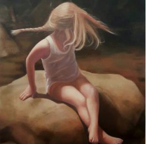 © Artist: Sally Davis - Ella And A Butterfly (Oil on Canvas)